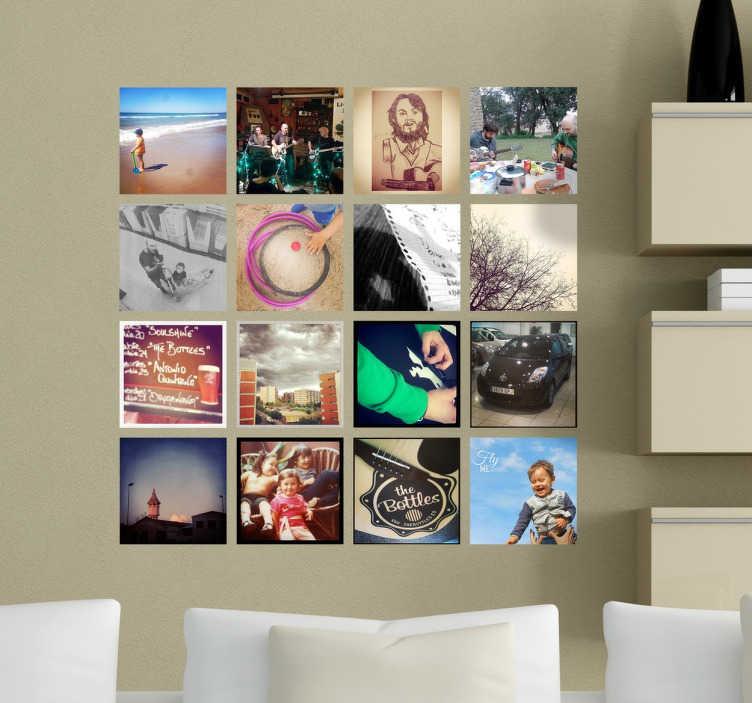 TenStickers. Autocolante decorativo grelha de fotos Instagram. Autocolante decorativo inspirado na grelha de fotos do Instagram. Indique-nos a sua conta para produzirmos com as suas imagens!
