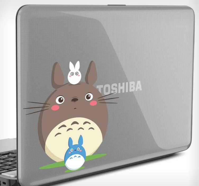 TenVinilo. Vinilo portátil dibujo Totoro. Decora la carcasa de tu ordenador con una pegatina de tu personaje de animación favorito. Para los fans de este dibujo animado japonés.