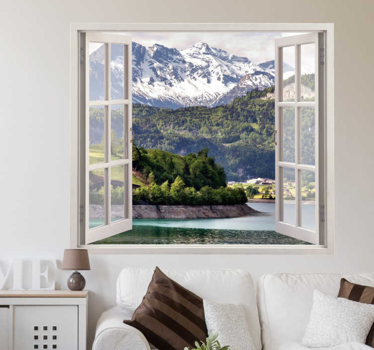 TenStickers. Personlig vindue vægmaleri klistermærke. Original og personlig klistermærke til at dekorere dit hjem med denne illusion af et vinduesåbning på dit yndlingslandskab. Hurtig levering.