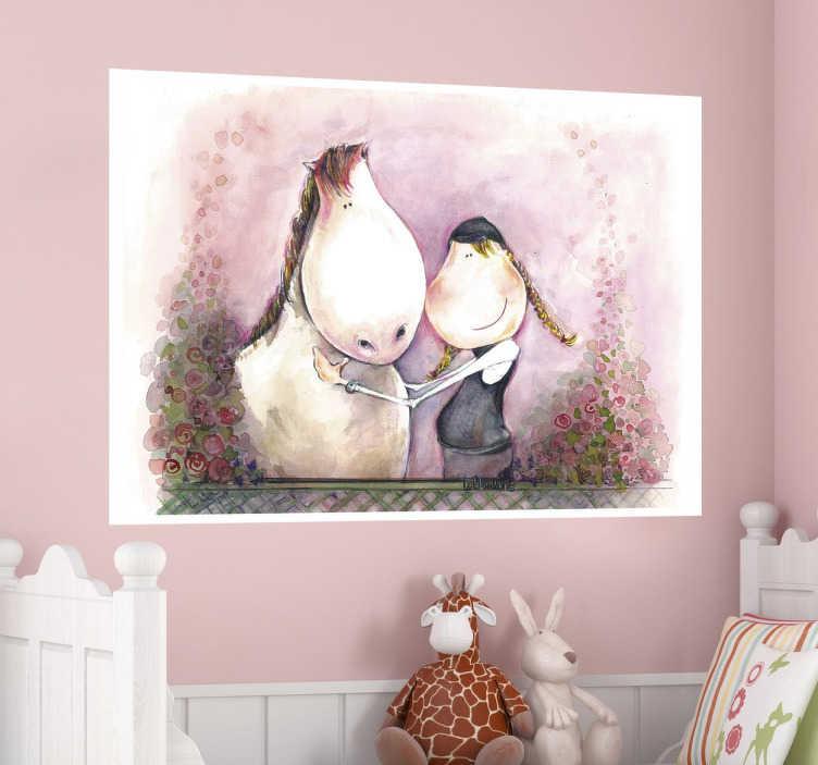 TenStickers. Kind mit Pferd Aufkleber. Wenn Ihr Kind Pferde liebt, dann ist dieses Pferd Wandtattoo Design die ideale Wandgestaltung für das Kinderzimmer.