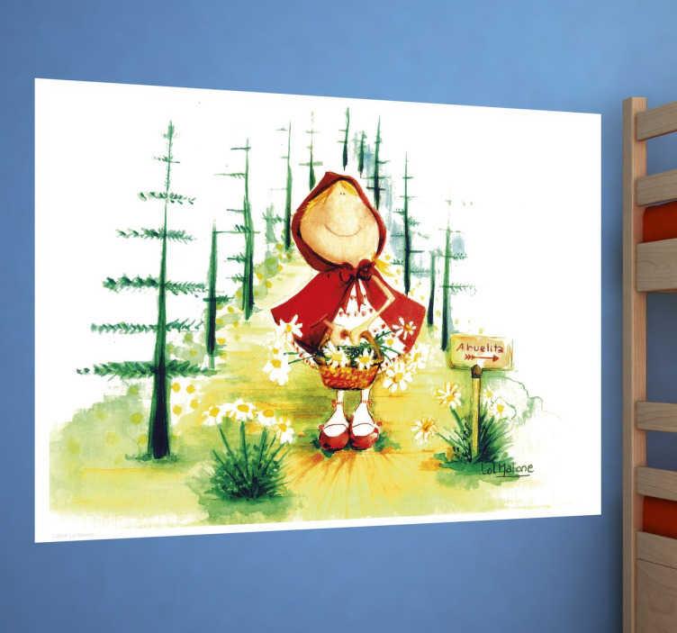 Naklejka dekoracyjna czerwony kapturek w lesie