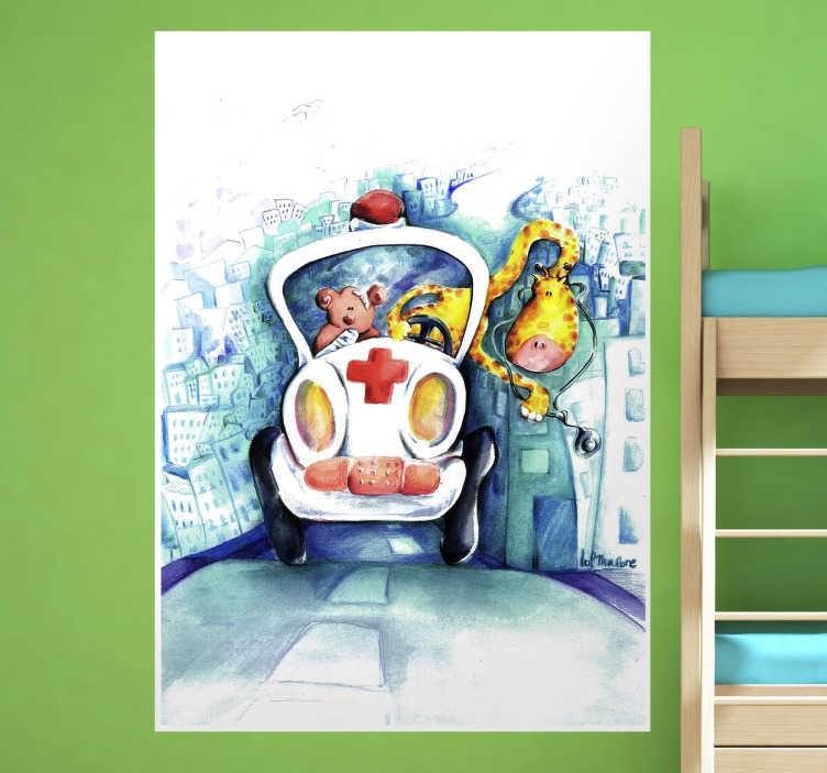 TenStickers. Dr Giraffe Aufkleber. Eine Giraffe und ein Bär im Krankenwagen. Mit diesem niedlichen Wandtattoo Design können Sie Akzente an der Wand im Kinderzimmer setzen.