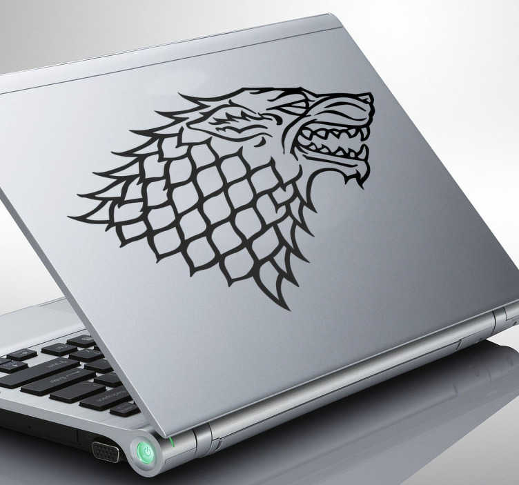 TenStickers. House Stark Crest Laptop Sticker. Laptop Stickers-Sigil of House Shark;Illustration inspired by the series Game of Thrones