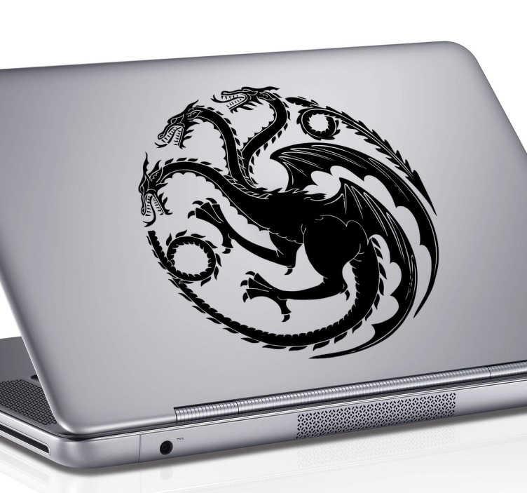 TenStickers. Sticker ordinateur emblème Targaryen dragon. Personnalisez votre ordinateur portable avec ce sticker Game of Thrones. Retrouvez chez vous l'emblème de la maison Targaryen, un terrifiant dragon à trois têtes.