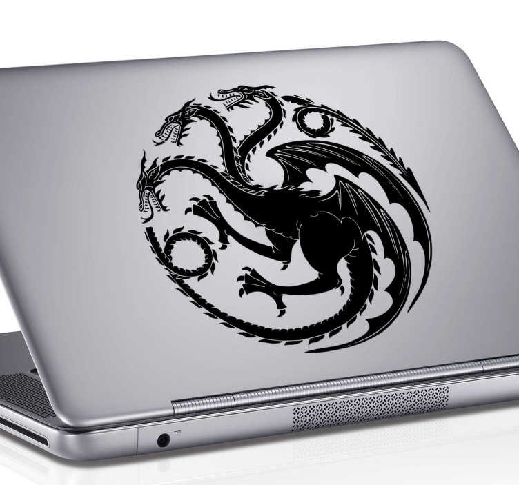 TenVinilo. Sticker para laptop Casa Targaryen. Vinilo decorativo para complementar tu ordenador con tu entusiasmo por la serie Juego de Tronos.