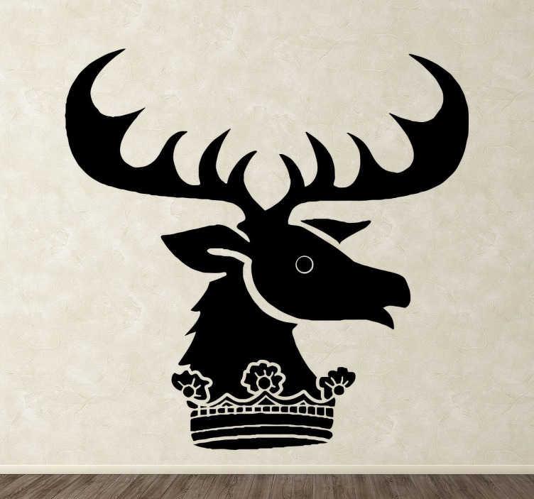 TenVinilo. Vinilo decorativo Casa Renley Baratheon. Vinilo decorativo de la serie Juego de Tronos. Hazte con el emblema de la Casa Renley Baratheon formado por un ciervo y una corona. Decora tu hogar y demuestra la fanático que eres de la serie.