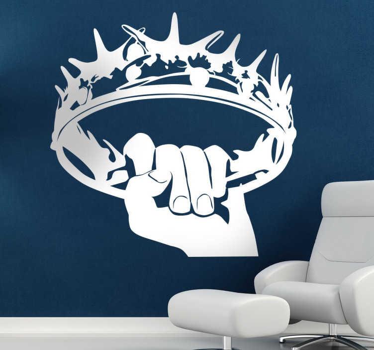 TenStickers. Naklejka koron z Gry o Tron. Naklejki na ściane z motywem Gra o Tron. Naklejki dla fanów Gry o Tron. Naklejki na ścianę do salonu.