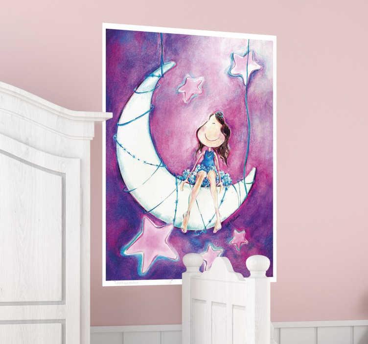 Wandtattoo Kinderzimmer Madchen Auf Mond Tenstickers