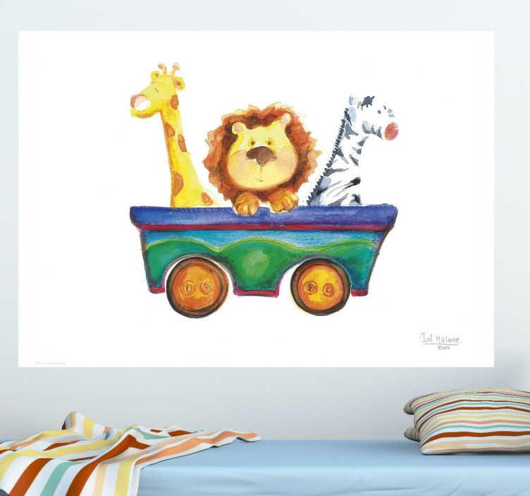 TenStickers. Dieren in een karretje sticker. Deze sticker is een exclusief design van de ontwerper Lol Malone voor tenstickers! U ziet een giraffe een leeuw en een zebra in een gekleurd karretje.