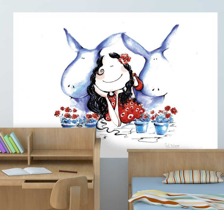 TenStickers. Kids Donkey Lady Wall Mural. Kids Wall Stickers-Original and exclusive Tensticker design. Illustration of a woman with two identical friendly donkeys against a white background