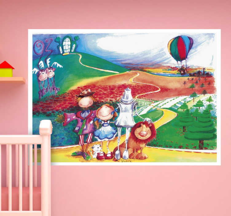 TenStickers. Wizard of Oz Kids Wall Decal. Film sticker for children with a colourful and detailed representation of the fantasy world of Oz by illustrator Lol Malone.