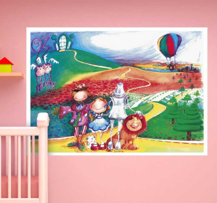"""TenStickers. Wandtattoo Zauberer von OZ. Gestalten Sie das Kinderzimmer mit diesem schönen Wandtattoo, dass die Landschaft von dem berühmten Märchen """"Der Zauberer von OZ"""" zeigt."""