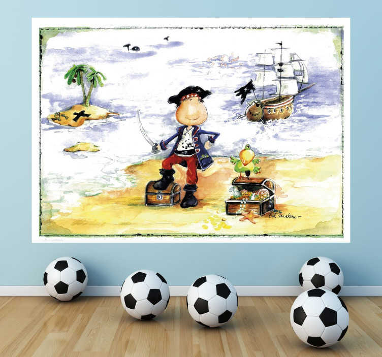 TenStickers. Pirate Adventure Kids Sticker by Lol Malone. A fantastic design illustrating a small boy dressed as a pirate looking for the treasure! A decal from our collection of pirate wall stickers.