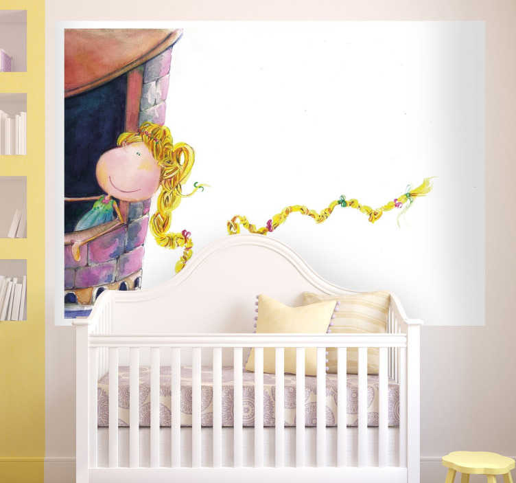 TenStickers. Rapunzel Wall Decal. Decorate your child's room with a sticker of their favourite story about the girl locked in a tower that manages to escape.
