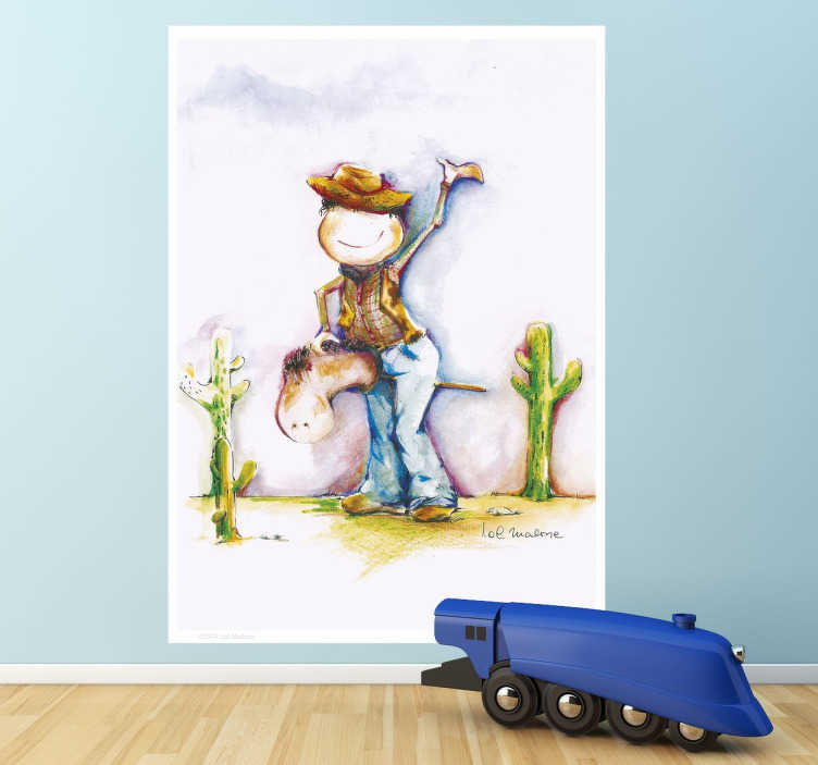 TenStickers. Little Cowboy Decal. A beautiful Lol Malone design of a young cowboy riding his pretend horse through the desert.