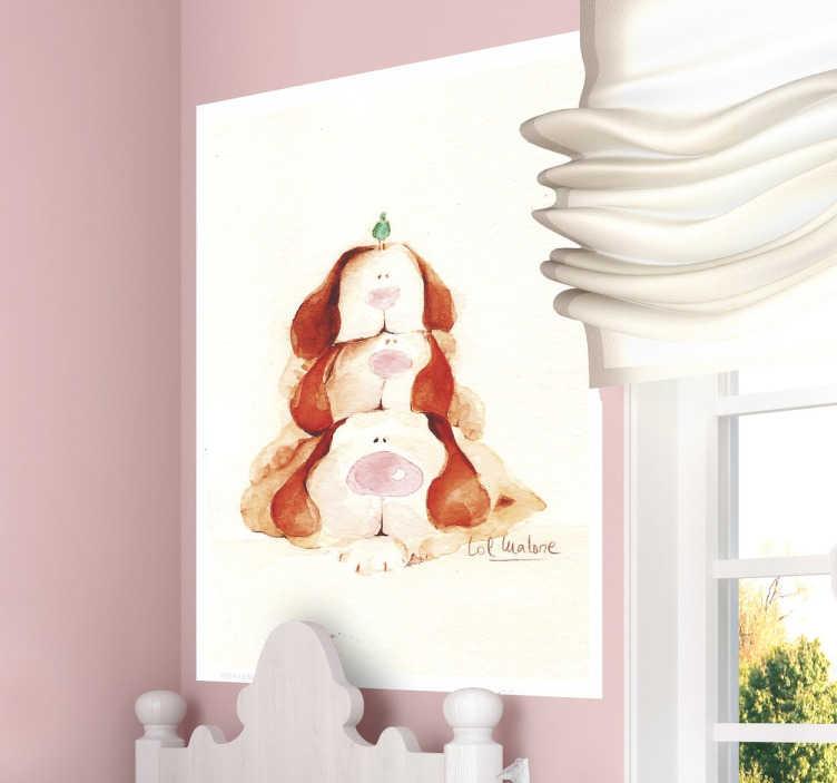 TenStickers. Autocolante de parede três cãozinhos. Decore o quarto da sua criança com este autocolante parede para conseguir preencher o espaço vazio que tem na suas paredes.