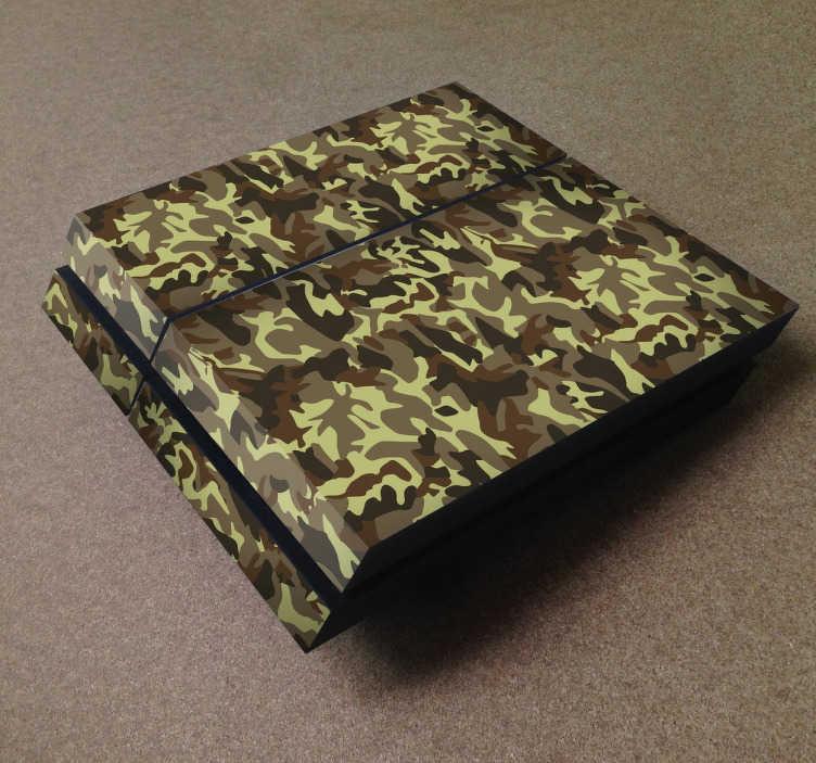 TenStickers. Sticker Playstation 4 camouflage. Decoreer uw PlayStation 4 door deze uit te rusten met een hoge kwaliteit sticker. Dit ontwerp omtrent een gecamoufleerd design.