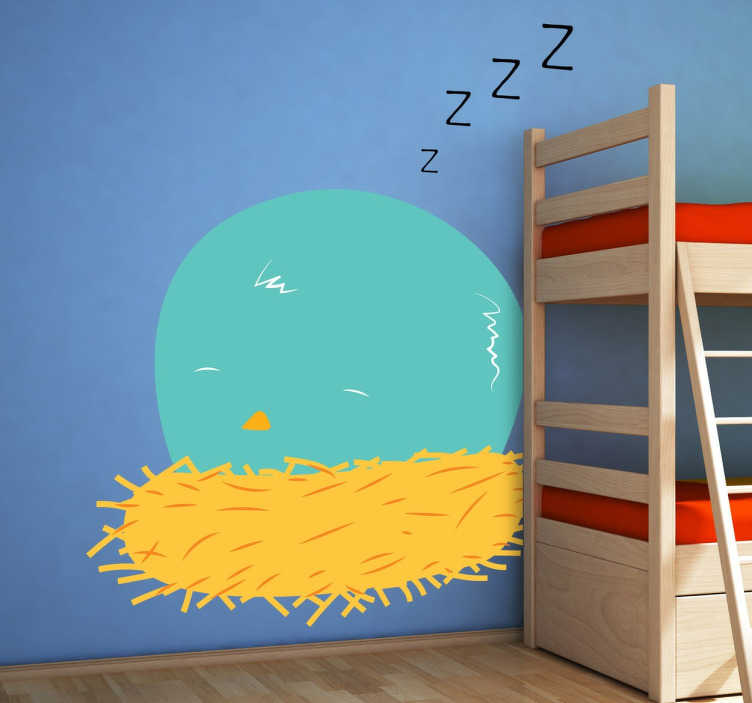 TenStickers. Kids Sleeping Bird Wall Sticker. Kids Wall Stickers - Illustration of a bird sleeping in a yellow nest by Pablo Mateo. Fun, colourful and playful feature for decorating your nursery.