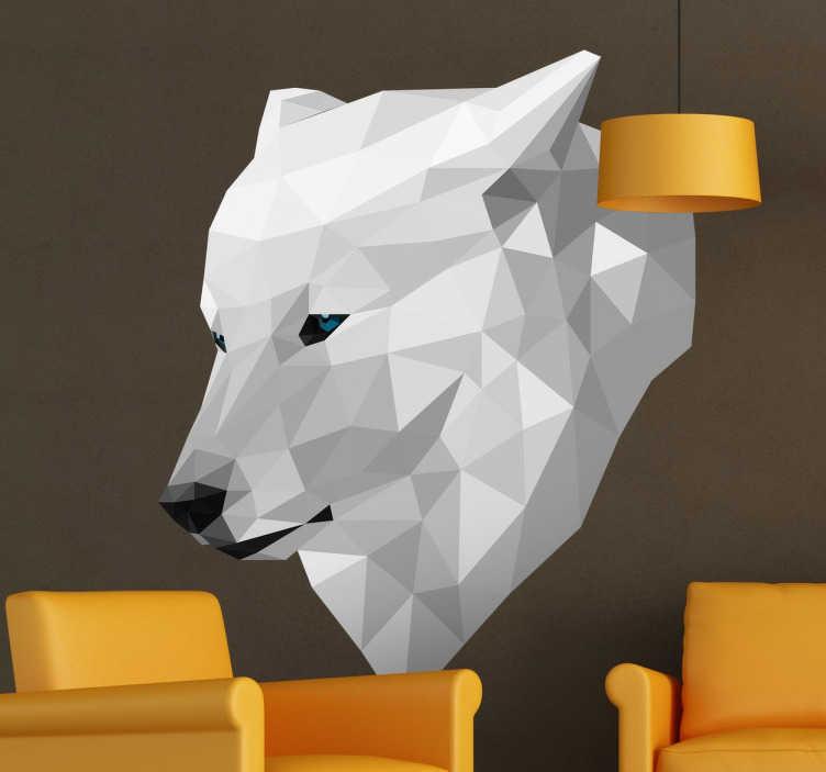TENSTICKERS. 3次元幾何学的なオオカミの壁のステッカー. デカールウォールステッカー - パブロマテオが設計した白オオカミの3次元レクリエーション。