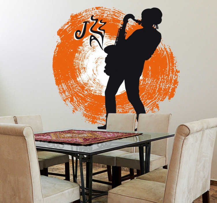 TenStickers. Jazz Saxophonist Sticker. Decorative musical sticker of a jazz saxophonist. A perfect wall decal to decorate your walls especially for those that love jazz!