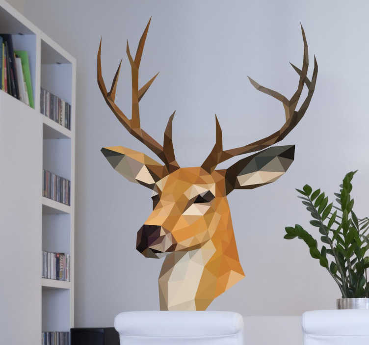 TenStickers. 3D Geometric Reindeer Wall Sticker. 3D geometric reindeer wall sticker designed by Pablo Mateo exclusively for Tenstickers. This majestic animal wall sticker is perfect for adding a stunning touch of nature to any room in your home with its antlers sure to make your home stand out for the best.