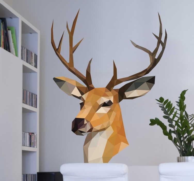 TENSTICKERS. 3次元幾何学的なトナカイの壁のステッカー. パブロマテオがデザインした3次元形状のトナカイ壁のステッカー。この雄大な動物の壁のステッカーは、あなたの家を最高のものにしてくれることを確かなものにしてくれる、かわいそうな家庭のあらゆる部屋に素晴らしい自然の感触を加えるのに最適です。