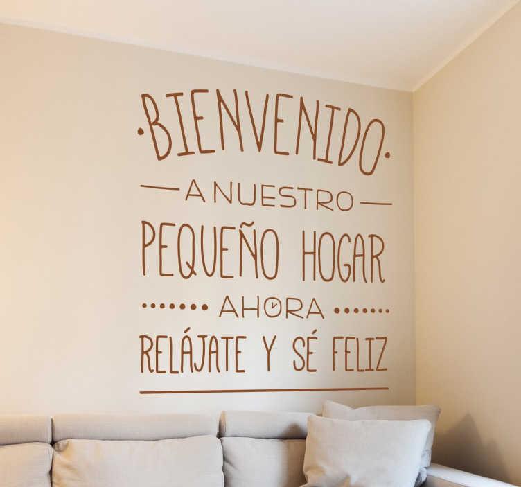 TenVinilo. Vinilo bienvenido pablo mateo. Original vinilo de texto para decoración de espacios interiores y paredes con una positiva frase de bienvenida al hogar.