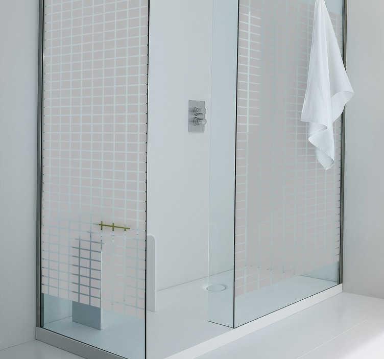 Tenstickers. Kvadratisk tekstur showerscreen klistremerke. Dusjskjerm klistremerker - et dekorativt dekal av små firkanter, perfekt for å dekorere dusjen. Gi dusjen din en veldig unik stil med dette badetegnet!