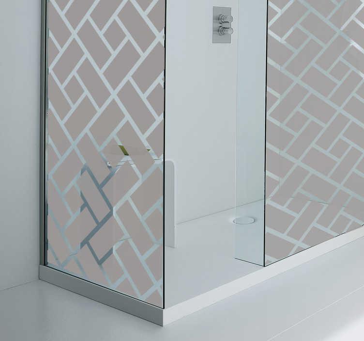TenStickers. Naklejka na kabinę prysznicową kwadratowy motyw. Naklejka dekoracyjna do łazienki, która odmieni każde proste i puste wnętrze. Wybierz dowolny kolor motywu, który zaaplikujesz na ścianę prysznicową.