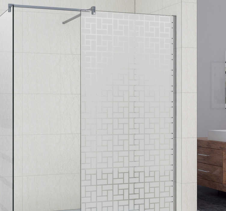 TenStickers. Geometric Tiles Shower Screen Sticke. Shower door sticker with a textured square pattern to help you to maintain some privacy in the bathroom.