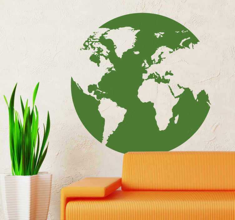 TenStickers. Circle World Map Sticker. If you love to travel and want to decorate your room with quality stickers and murals related to your favourite hobby, then this globe world map sticker is perfect for you. Available in various sizes and 50 different colours.