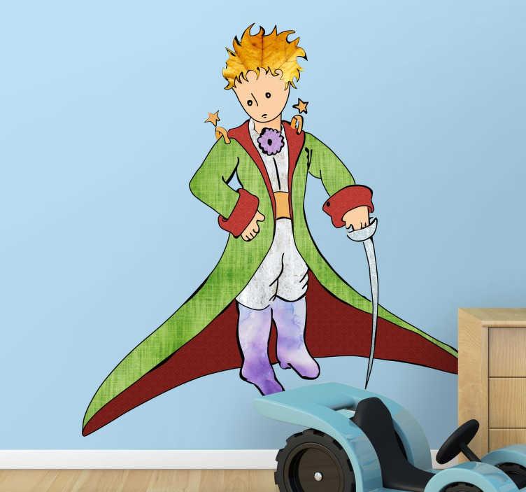TenStickers. Kleiner Prinz Sticker. Niedlicher Wandaufkleber für das Kinderzimmer. Abgebildet ist der kleine Prinz aus den Büchern von Antoine Saint-Exupéry.