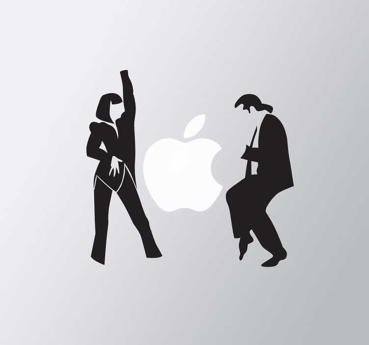 TenVinilo. Adhesivo ordenador baile Pulp Fiction. Silueta de los dos personajes principales de este clásico film de Tarantino de los años 90. Ten a John Travolta y Uma Thurman con una de nuestras pegatinas para portátiles de películas recreando la famosa escena de la obra magna del director estadounidense.