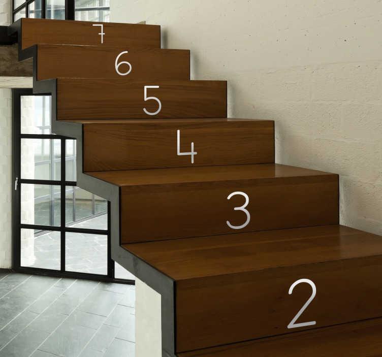 TenStickers. Adesivi numeri scale. Numera le scale della tua casa con queste cifre sticker adatte a qualsiasi superficie liscia, per un'applicazione semplice ed economica.
