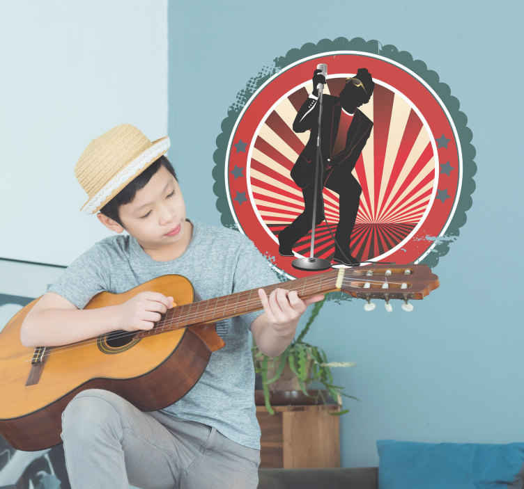 TenStickers. Autocollant mural pop. Stickers mural rond à fond rouge avec un homme chantant au micro.Idée déco pour la chambre à coucher ou le salon.