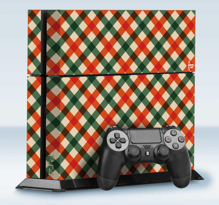 TenVinilo. Adhesivo play patrón mantel. Tu consola PlayStation no tiene porqué ser a partir de ahora un aburrido y soso electrodoméstico más. Decórala con stickers como el siguiente con una textura geométrica que simula el tapete de una mesa en tonos beige, rojos y verdes.