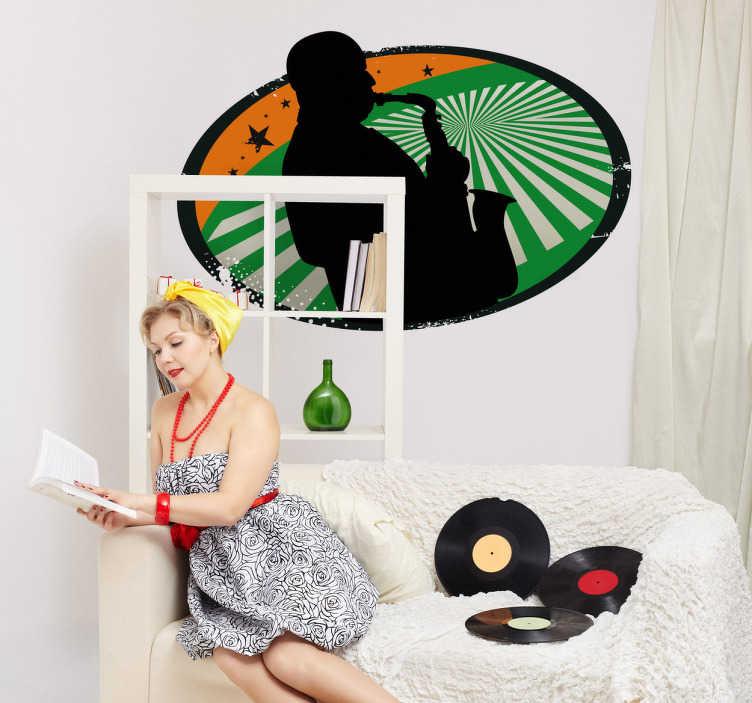 TenStickers. Autocollant mural musique jazz. Stickers mural de forme arrondie à fond vert et orange avec un homme jouant du saxophone.Idée déco pour la chambre à coucher ou le salon.