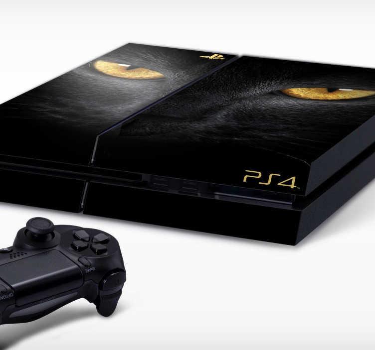 TenStickers. PS4 sticker kat. Personliggør din PlayStation 4 konsoller med denne sticker med dette katte design. Dekorere og beskytte din PS4 mod ridser og støv. Let at påføre