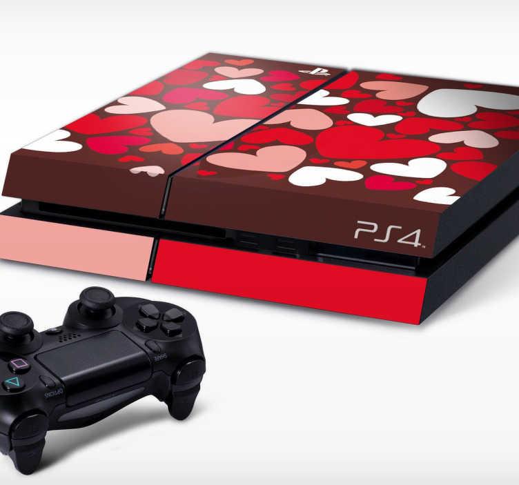 TenStickers. Naklejka na PS4 serduszka. Naklejka dekoracyjna na konsolę PlayStation 4, która przedstawia czerwone, różowe i białe serduszka. Romantyczny pomysł na dekorację Twojej konsoli.