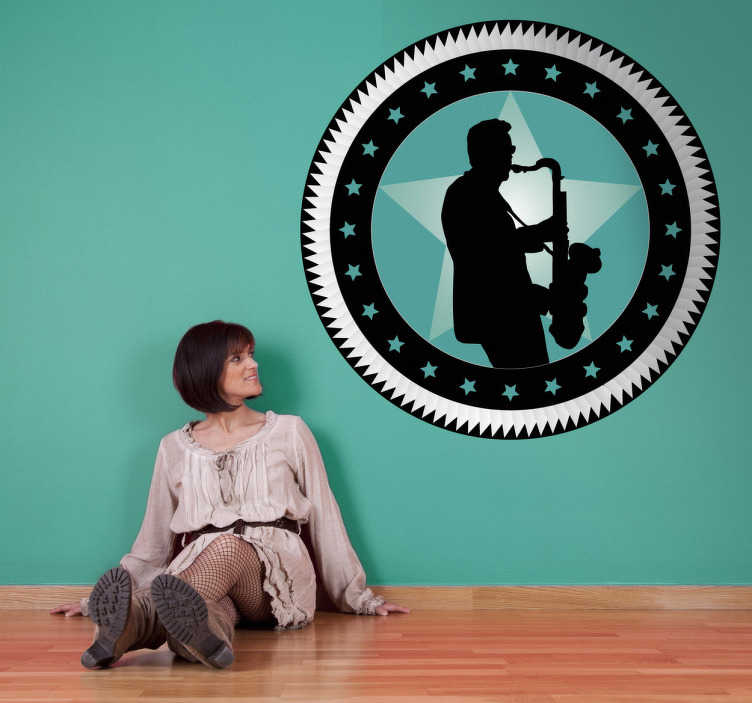 TenStickers. Circular Saxophonist Sticker. Decorative musical sticker of a saxophonist. A perfect wall decal to decorate your walls especially for those that love this instrument!