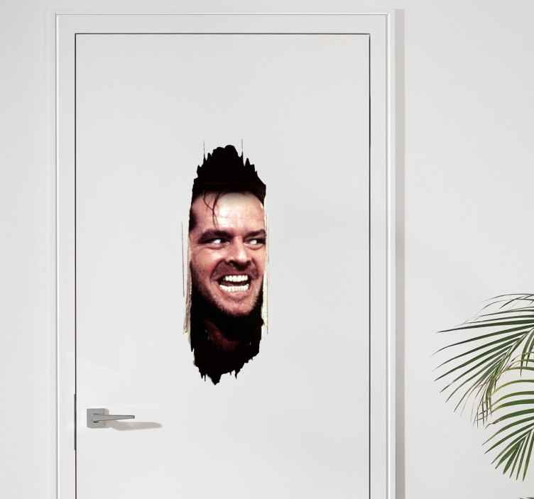TenStickers. The Shining Wall Sticker. A brilliant door wall sticker displaying Jack Nicholson's face during a scene in The Shining.