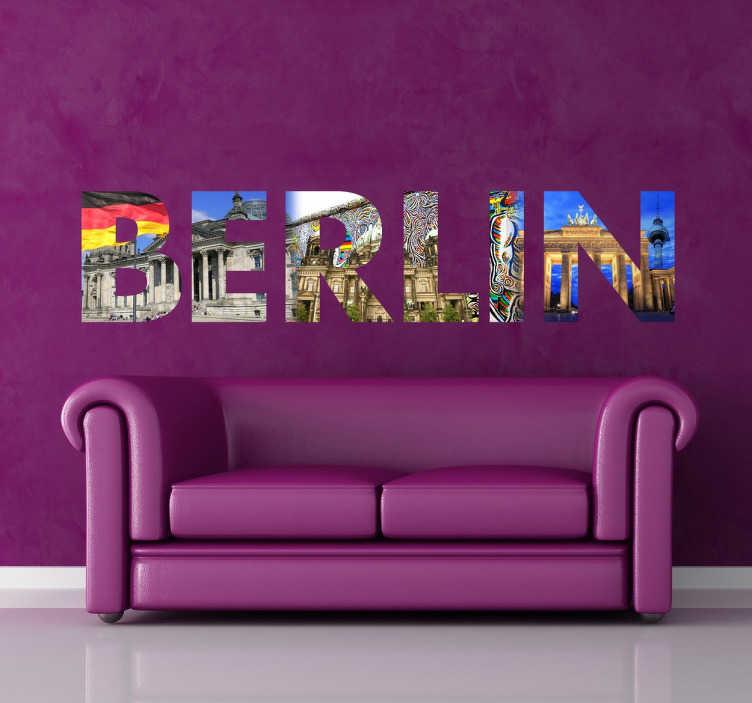 TenVinilo. Vinilo decorativo foto texto Berlín. Vinilos fotomurales para almas viajeras y para amantes de la capital de Alemania. Las letras siluetean un collage de imágenes con los monumentos más característicos de esta ciudad germana como la Puerta de Brandemburgo o el famoso muro.