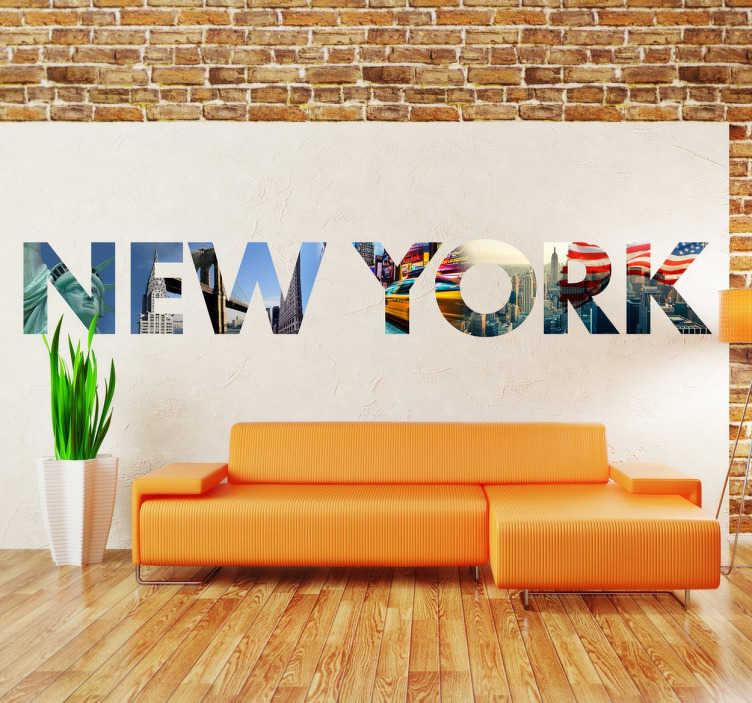 TENSTICKERS. ニューヨークの壁画壁画. 私たちの街の名前を形作る文字にカットされた写真のコラージュを持つ独占的なニューヨークの壁のステッカー。このカラフルではっきりとしたデザインは、自由の女神、帝国の国家の建物、アメリカの旗などのモニュメントを示しています。