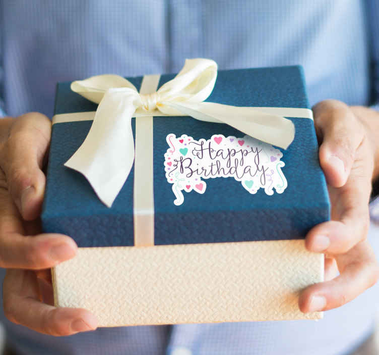 TenStickers. Happy Birthday Sticker. A decorative sticker that is sure to brighten up any birthday party. Beautiful cursive writing, surrounded by pastel coloured hearts.