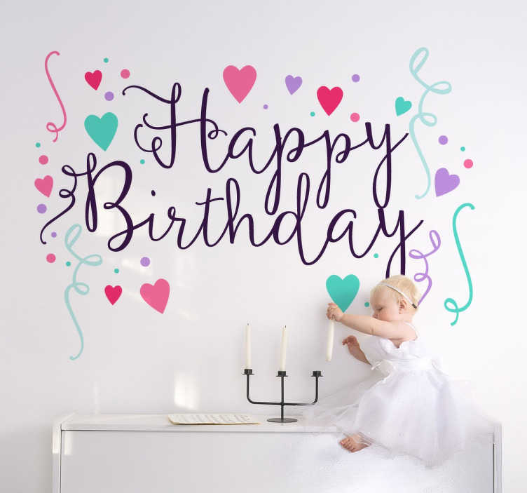 TenStickers. Happy birthday sticker. Vier je verjaardag met deze ¨Happy birthday¨ sticker. Een vrolijke muursticker met allemaal vrolijke en kleurrijke hartjes en confetti