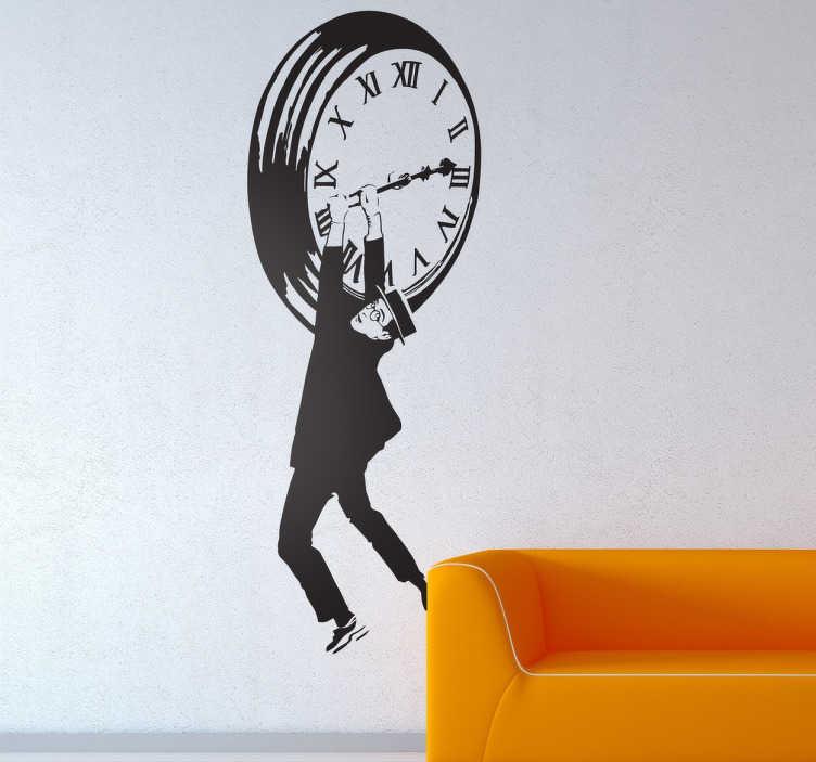 TenStickers. Sticker horloge Harold Lloyd. Voilà un sticker très original, basé sur l'une des scènes les plus célèbres du cinéma, où le personnage d'Harold Lloyd est suspendu à une horloge.