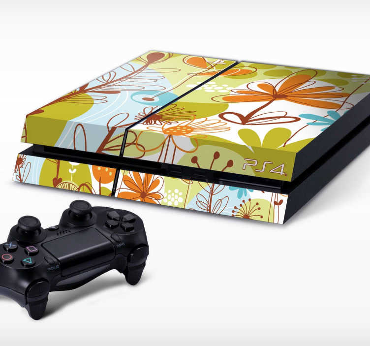TenStickers. Sticker Playstation 4 bloemen natuur. Decoreer PlayStation door deze te uit te rusten met een hoge kwaliteit sticker. Dit ontwerp omtrent een modern design van de natuur.