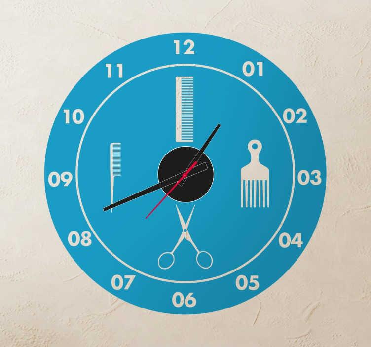 TenStickers. Naklejka fryzjerski zegar. Monochromatyczna naklejka na ścianę typu zegar przedstawiająca fryzjerskie akcesoria, takie jak nożyczki i różne grzebienie. Idealna dekoracja do salonów fryzjerskich.