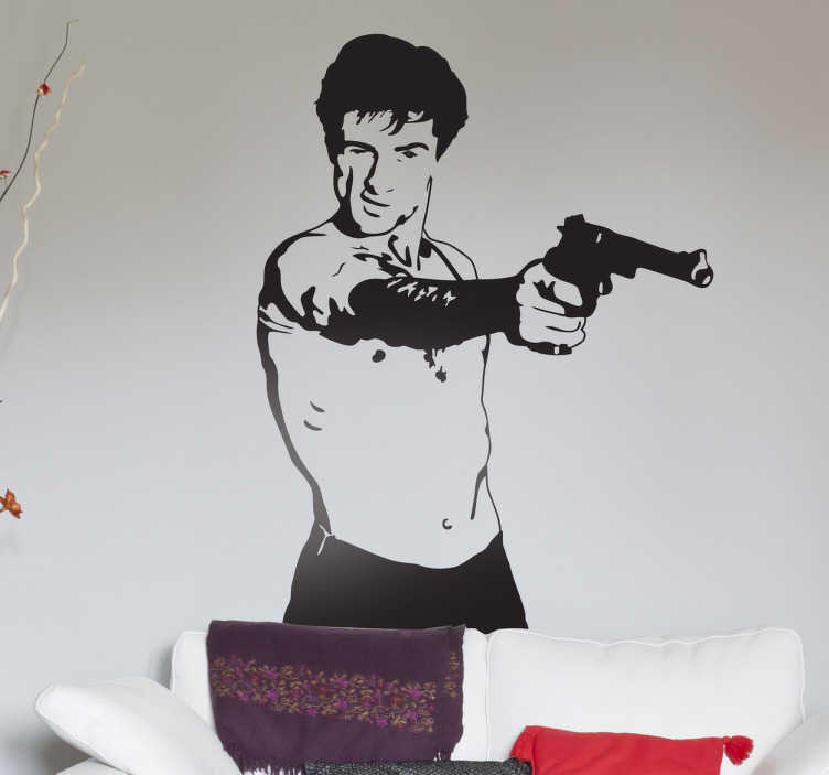 """TenVinilo. Vinilo decorativo Robert de Niro. Si buscas murales y vinilos con representaciones de escenas de las mejores películas de todos los tiempos en tenvinilo está lo que buscabas. Por ejemplo un retrato del personaje principal de la película Taxi Driver. """"¿Are you talking to me?"""""""