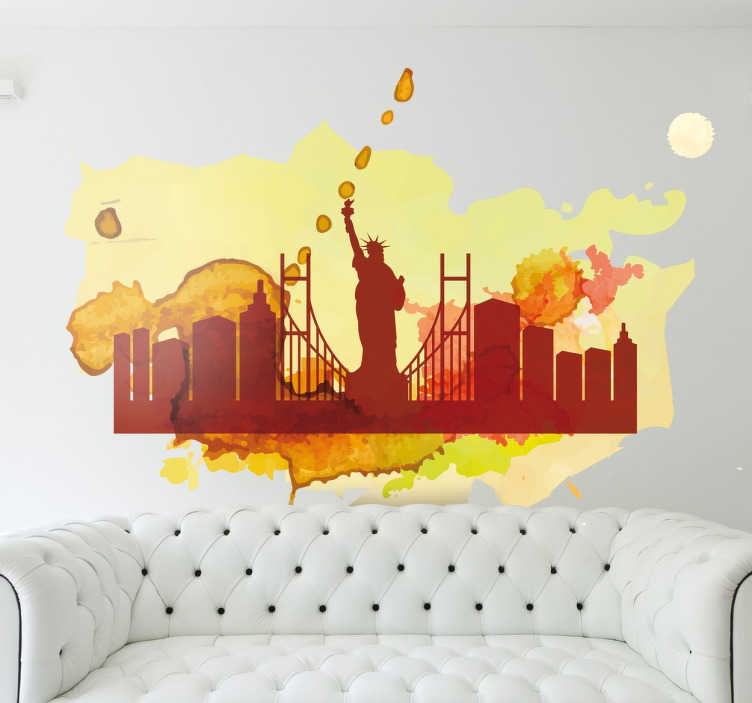 TenStickers. Colourful New York Silhouette Wall Sticker. Wall Stickers - A colourful silhouette skyline feature inspired by the city of New York.